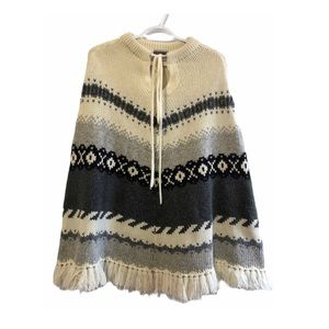 Vtg Y2K Boho Wool Blend Poncho with Fringe &Tie OS